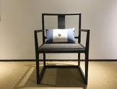 新中式禪意白蠟木實木餐椅休閑椅茶室主人會客椅(不含抱枕)