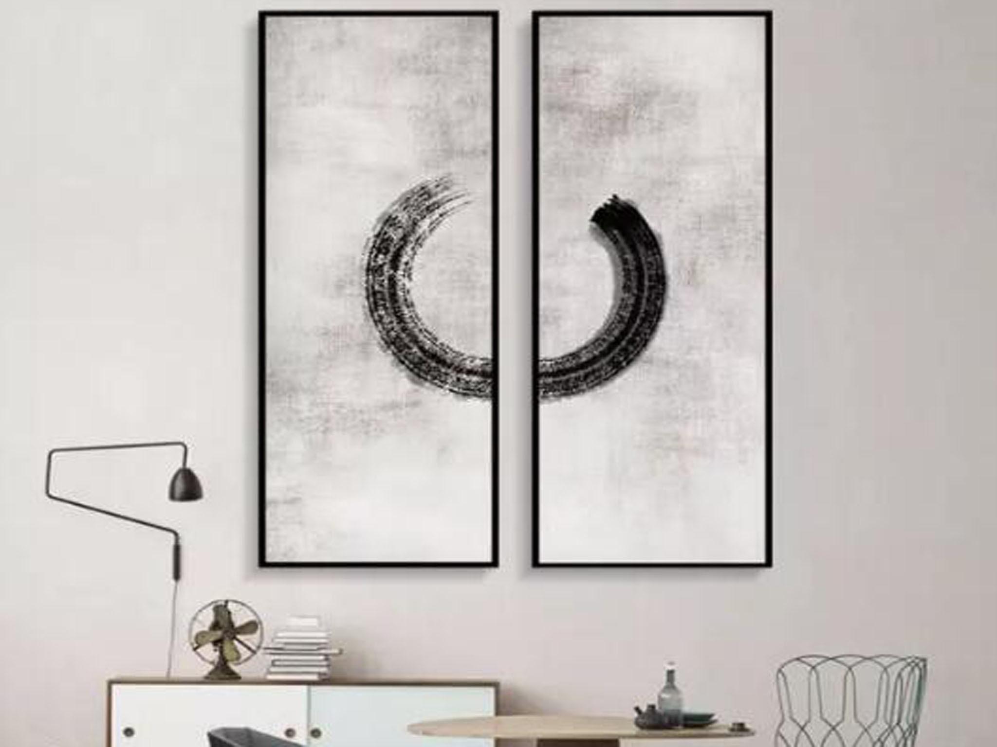 【装饰字画】手绘油画 月亮 新中式风景油画 组合中式