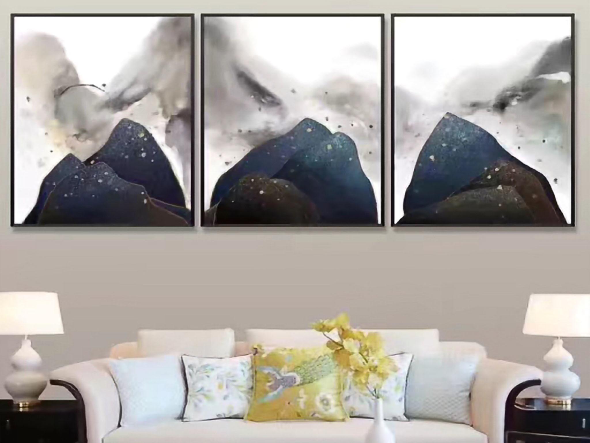 【装饰字画】手绘油画 云山雾里 新中式风景油画 组合