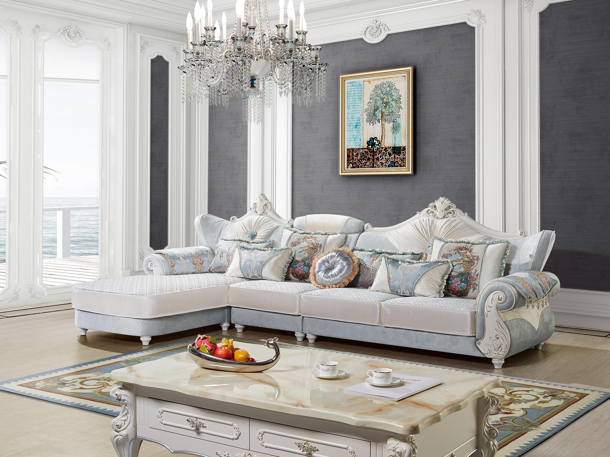 橡胶木沙发脚 欧式印花布靠背 欧式风格转角沙发(1 3 右贵妃)