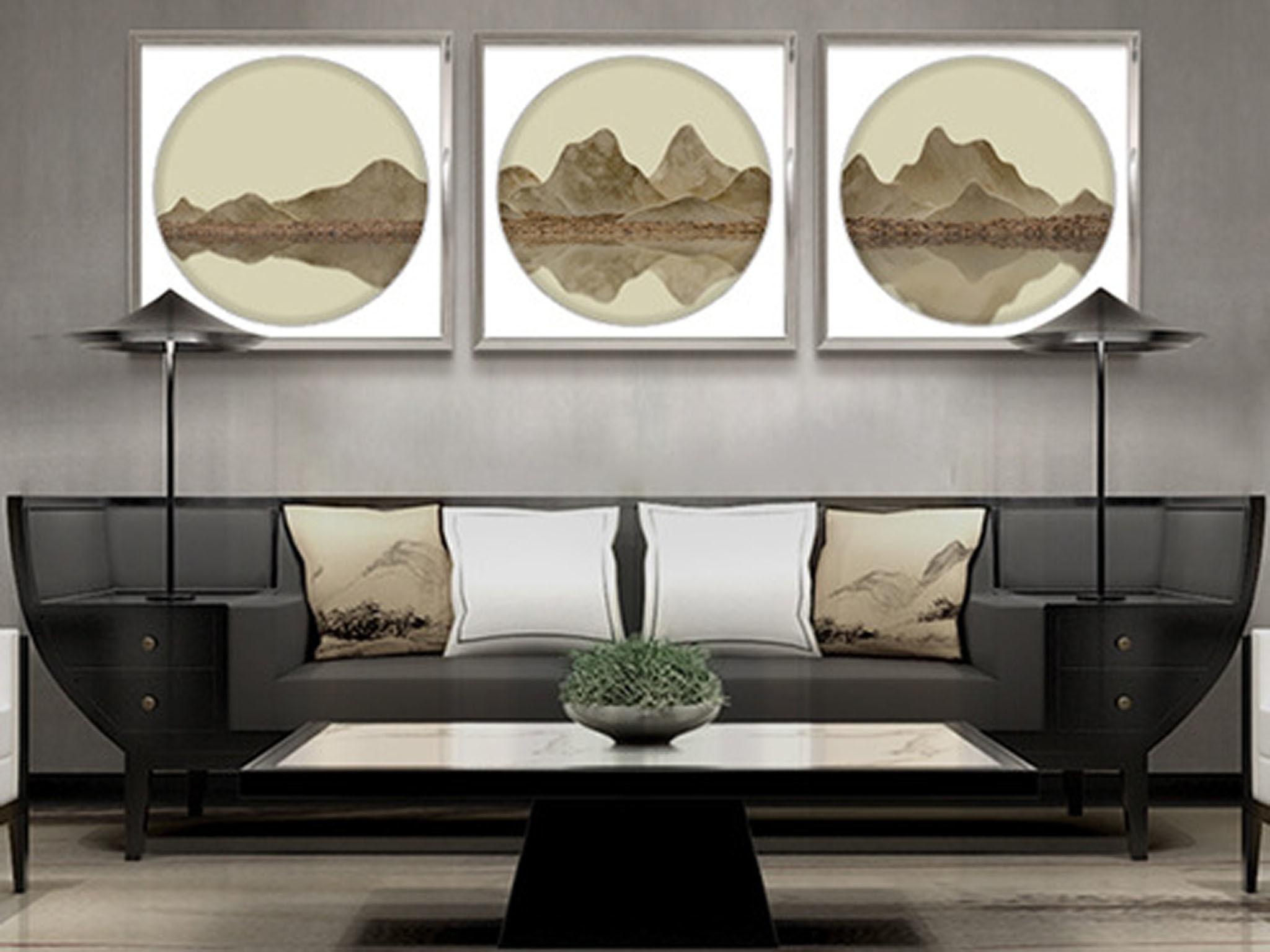 【装饰字画】手绘油画 千山万水 新中式风景油画 组合