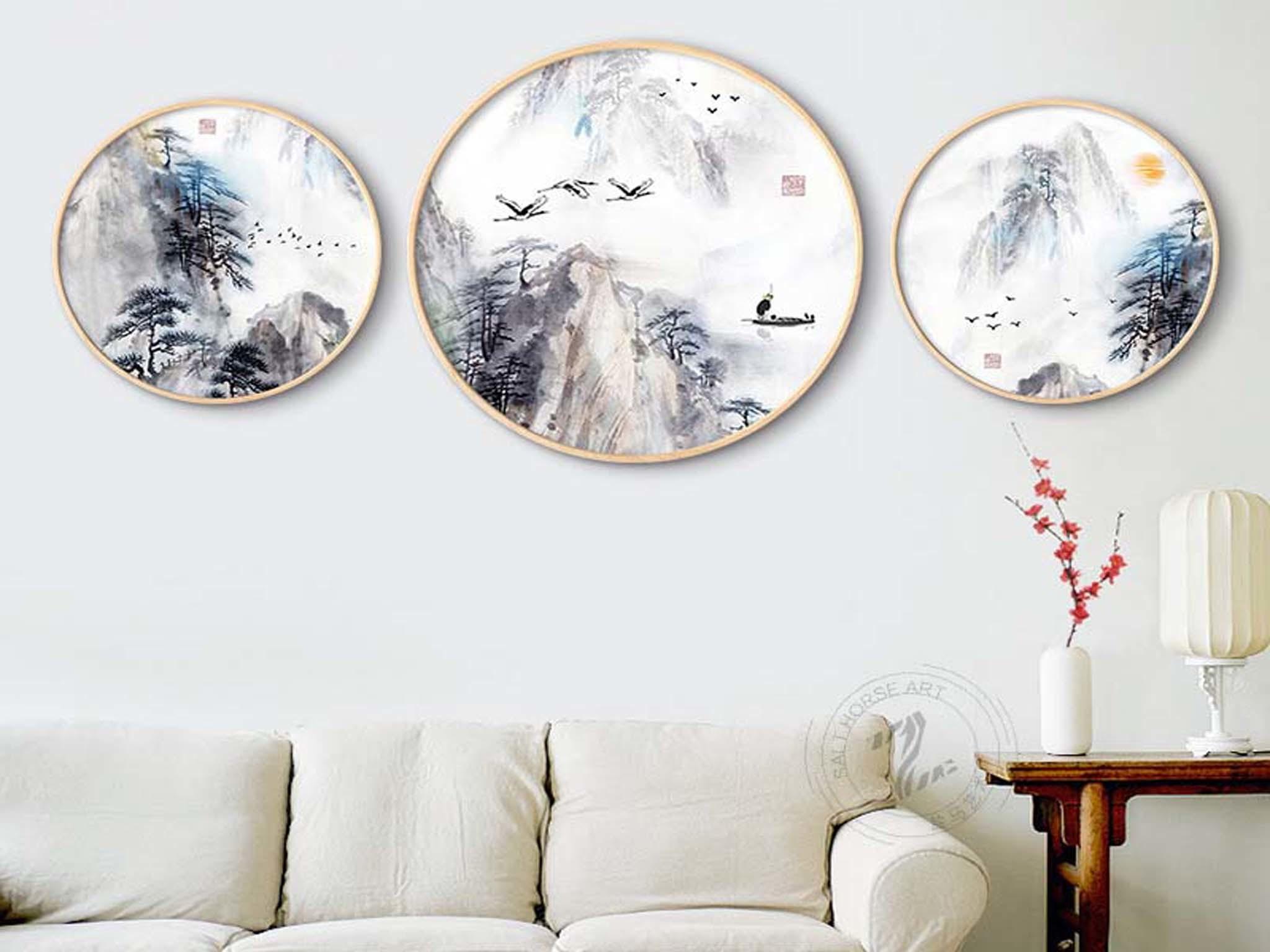 【喜事来】手绘油画 雁南归 新中式风景油画 客厅挂画 玄关挂画 组合