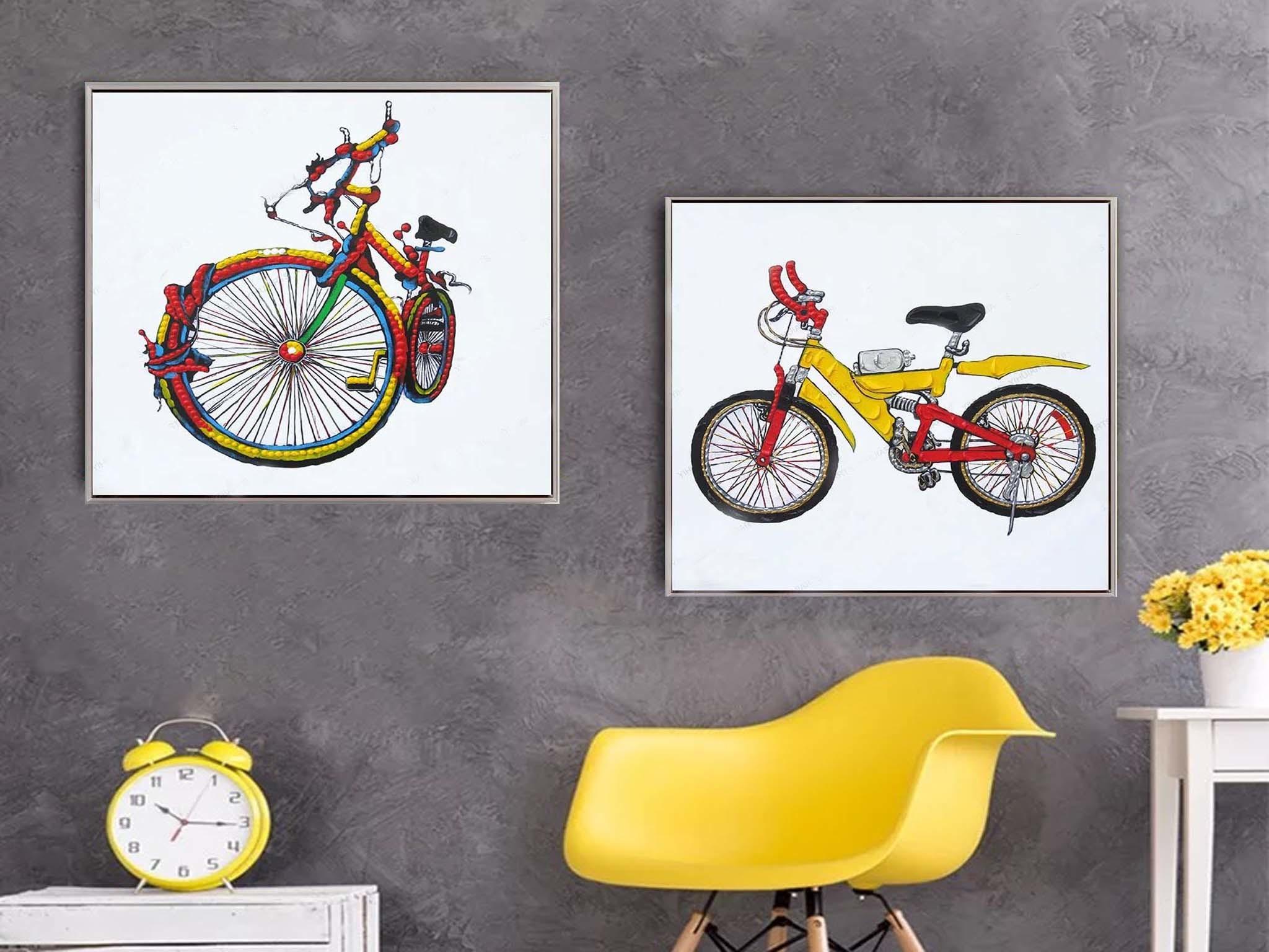 【装饰字画】手绘现代简约风格油画 自行车 客厅装饰
