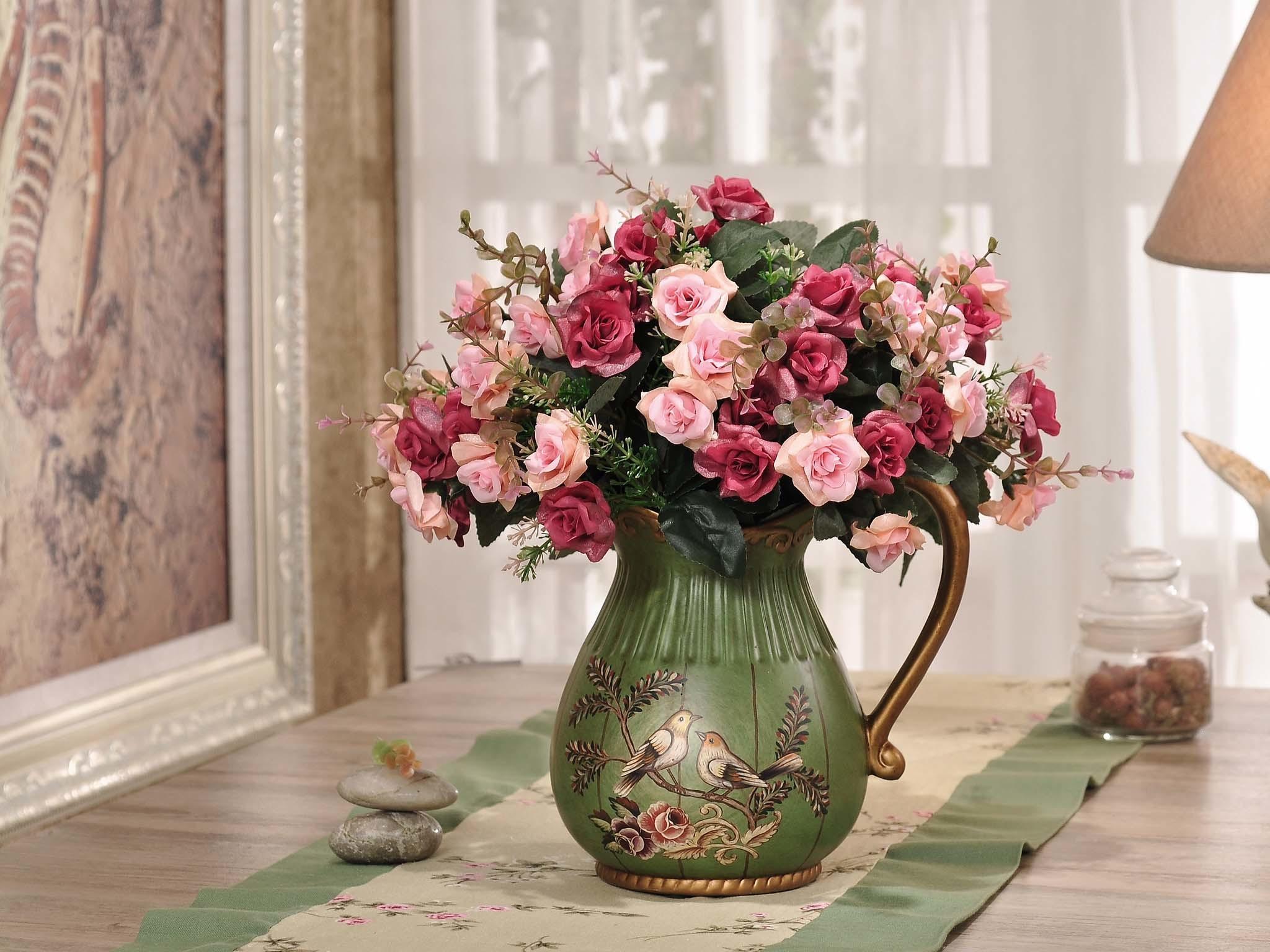 【花瓶】家居饰品客厅摆件花瓶花艺套装欧式装饰花花