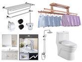 衛欲無限 衛浴套裝浴室柜80cm 節水型連體式馬桶 淋浴花灑 304拉絲浴室掛件4件套 電動遙控晾衣架