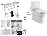 衛欲無限  衛浴套裝 浴室柜80cm 節水型連體式馬桶 淋浴花灑 304拉絲浴室掛件4件套