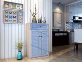 恩嘉依 地中海鞋柜 對開門宜家玄關  門廳柜烤漆百葉田園 兩門 藍色
