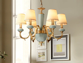 美式吊燈客廳燈全銅燈具現代簡約鄉村創意歐式臥室餐廳大氣銅吊燈