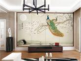 獨秀無縫墻布花鳥孔雀山水現代新中式壁布客廳玄關壁畫刺繡墻布