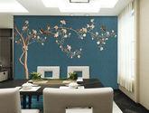 定制獨繡刺繡無縫墻布客廳沙發背景墻壁布現代中式墻布花鳥樹