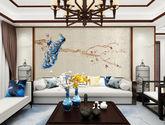 定制獨繡無縫墻布客廳沙發背景墻壁布現代中式復古墻布玄關孔雀