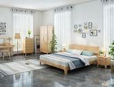 堅韌耐磨橡膠木 日式風格1.5米床(原木色)