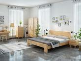 堅韌耐磨橡膠木 天然清晰木紋 寬厚承重床腳 日式風格1.5米床(原木色)