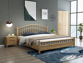 柵欄式床頭床尾 堅韌耐用橡膠木 日式雙人床(原木色)