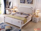 實木雙人床 格子布軟包 橡膠木1.8米單床